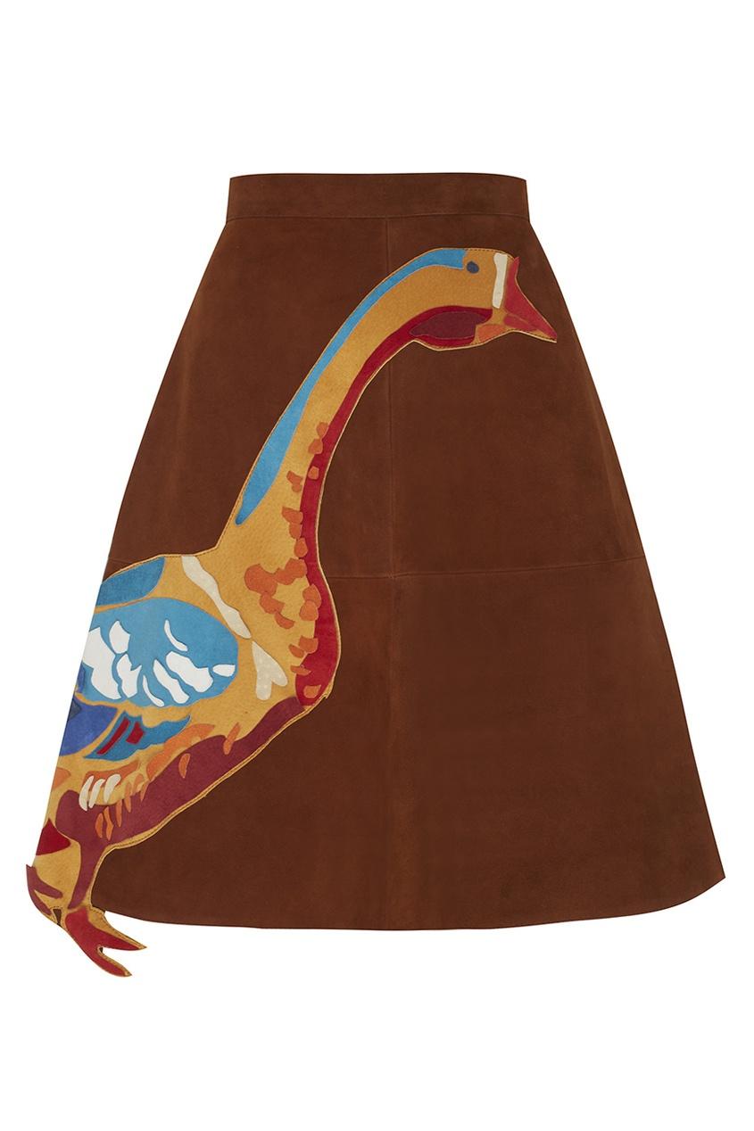 Фото - Замшевая юбка от Alexander Arutyunov коричневого цвета