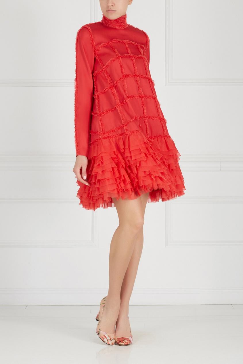 Фото 3 - Шелковое платье от Alexander Arutyunov красного цвета