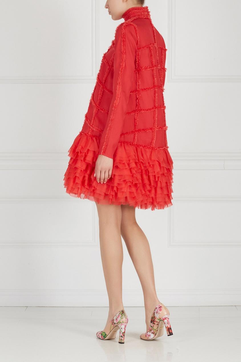 Фото 4 - Шелковое платье от Alexander Arutyunov красного цвета