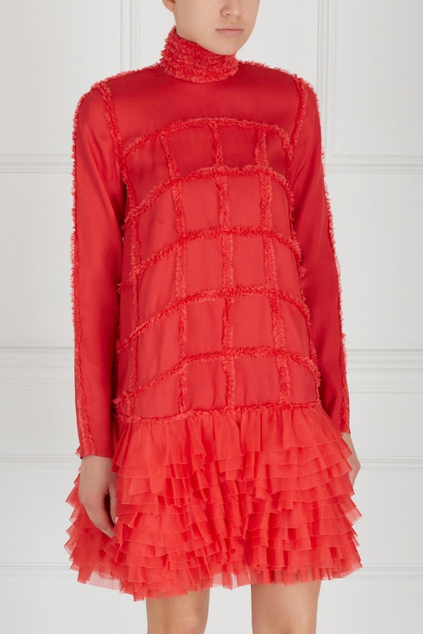 Фото 5 - Шелковое платье от Alexander Arutyunov красного цвета