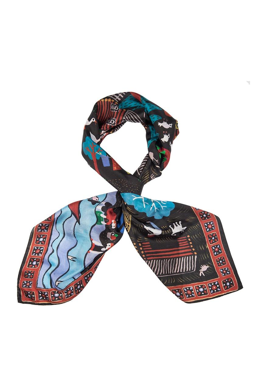 Шелковый платок «Деревня»