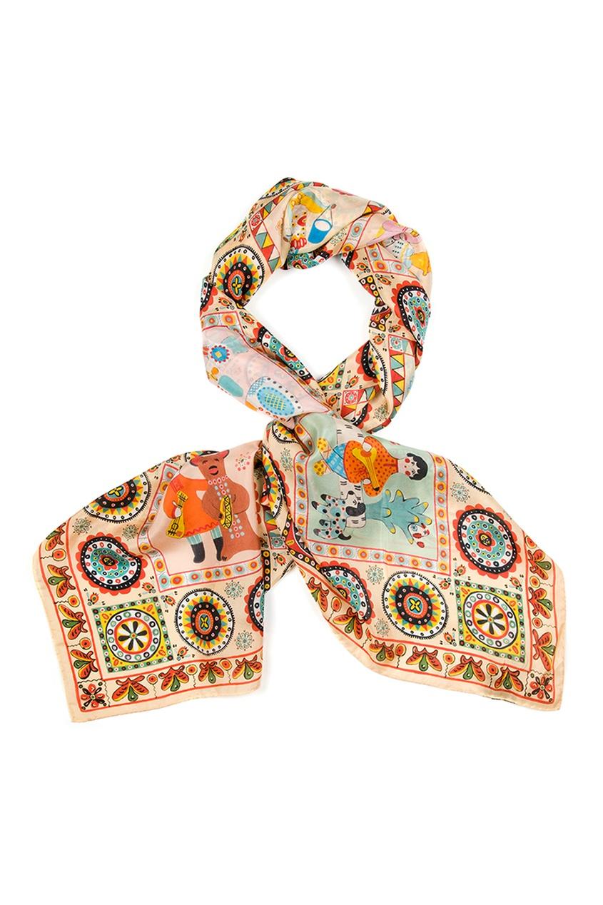 Шелковый платок «Дымковские игрушки»