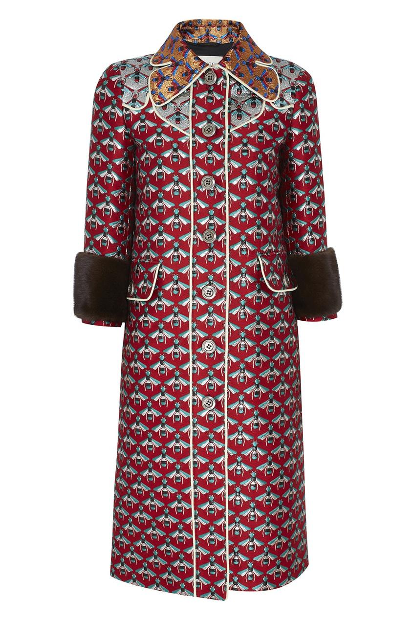 Фото 2 - Пальто с вышивкой от Gucci цвет multicolor
