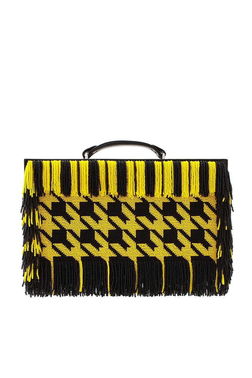 Фото - Кожаная сумка от Alexander Arutyunov желтого цвета