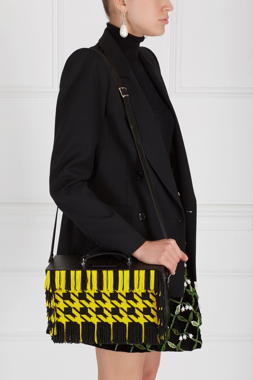 Фото 6 - Кожаная сумка от Alexander Arutyunov желтого цвета