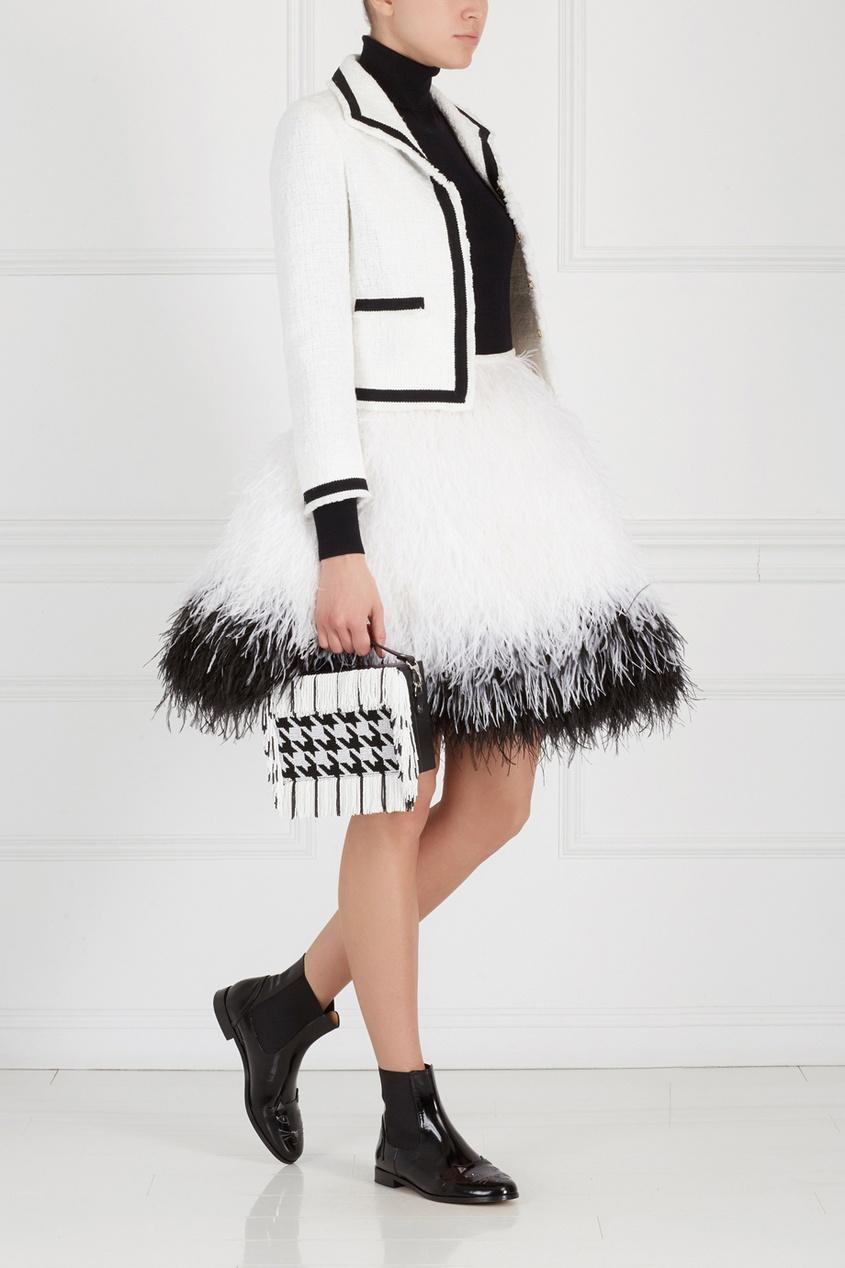 Фото 6 - Кожаная сумка от Alexander Arutyunov черно-белого цвета