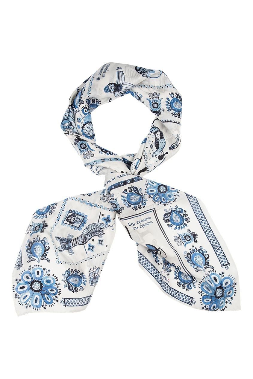 Шелковый платок «Гжель»