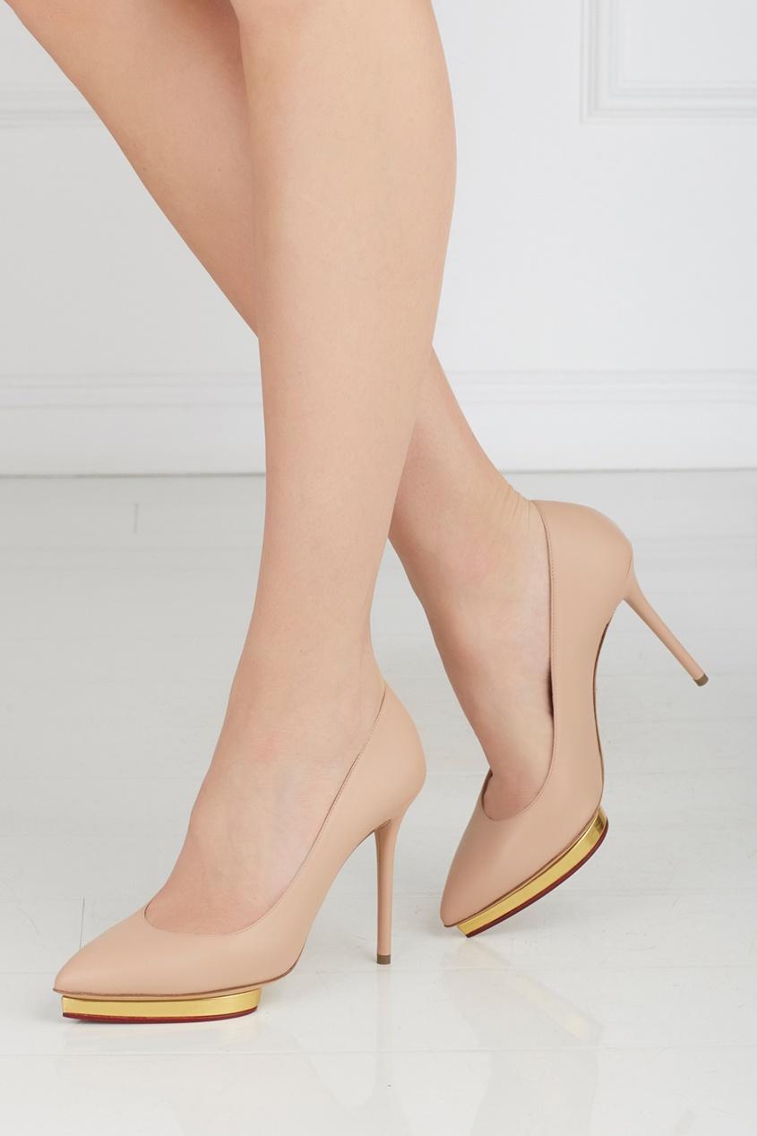 Кожаные туфли Debbie Gold Platform
