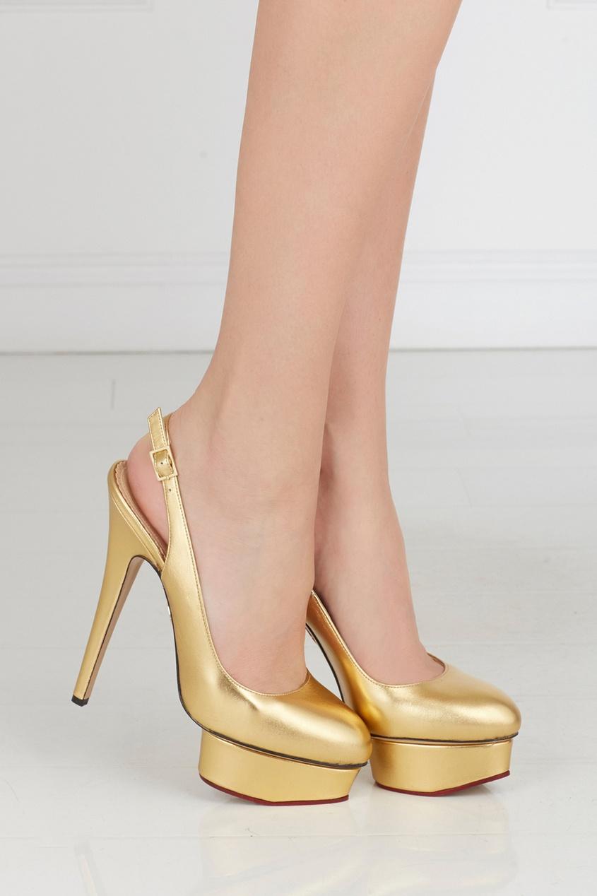 Туфли из металлизированной кожи Dolly Slingback Covered P