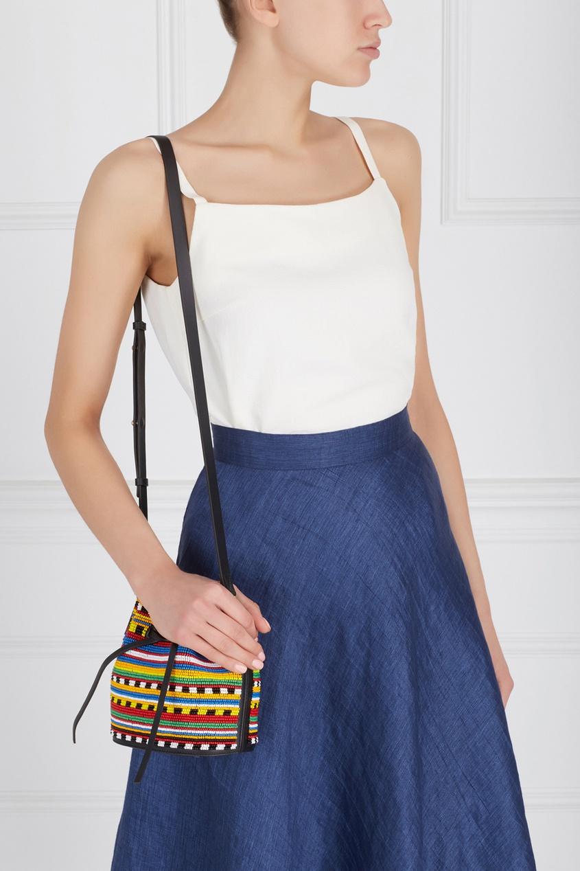Кожаная сумка с вышивкой Mini Daliah Bucket Africa