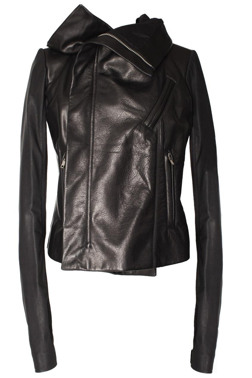 Кожаная куртка на молнии Rick Owens. Цвет: черный