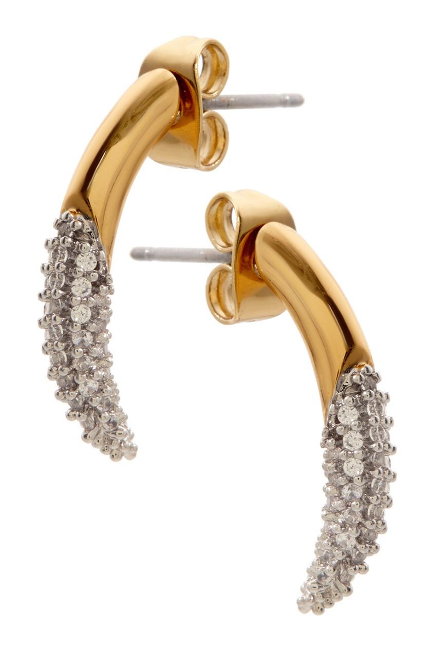 Фото 2 - Позолоченные серьги с кристаллами от Rachel Zoe золотого цвета