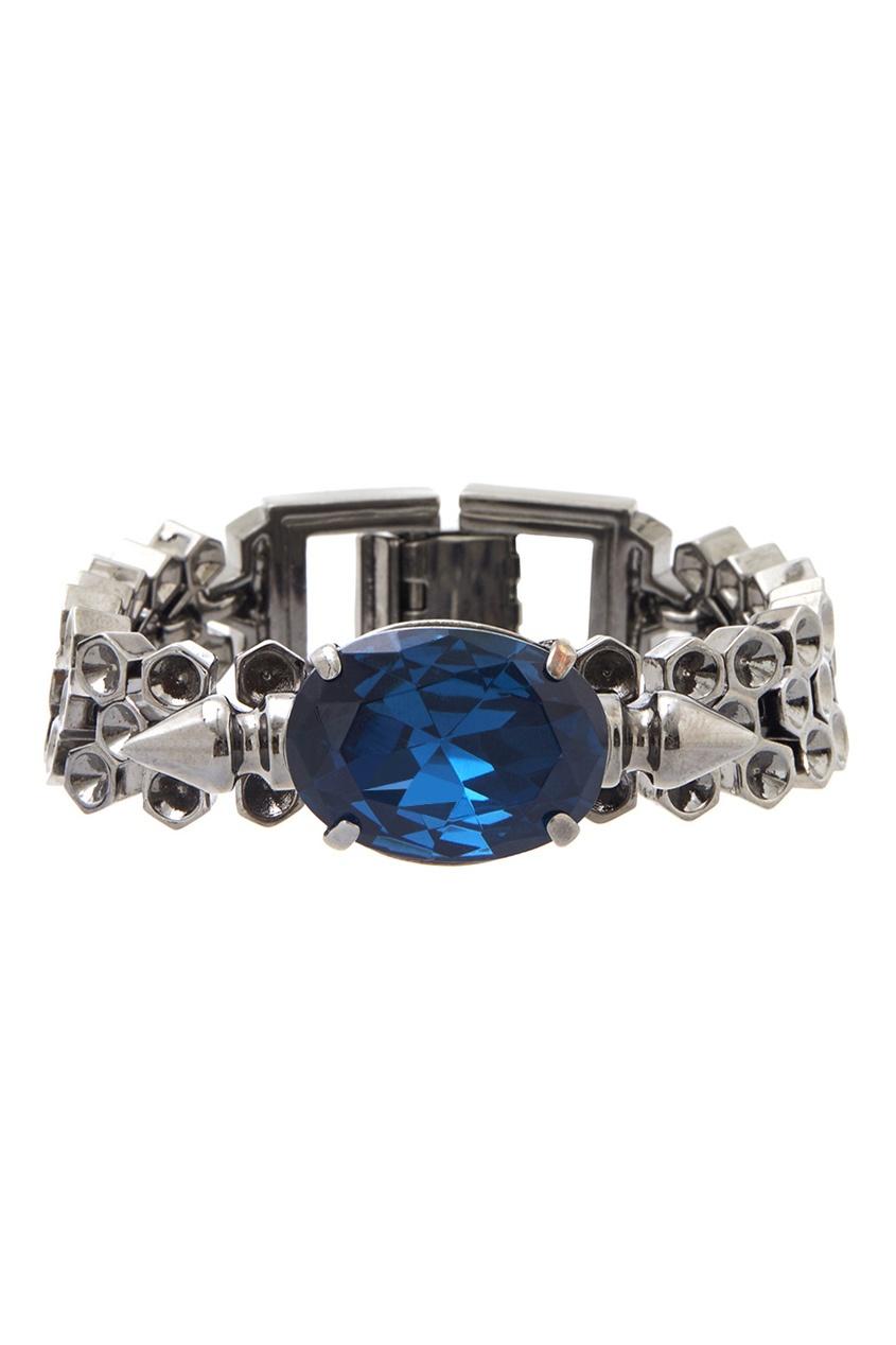 Фото 3 - Браслет с кристаллами от Mawi синего цвета