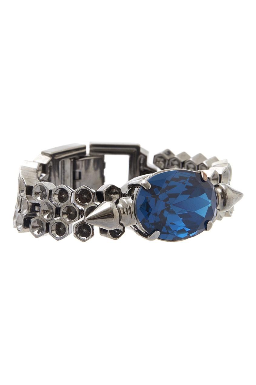 Фото 4 - Браслет с кристаллами от Mawi синего цвета