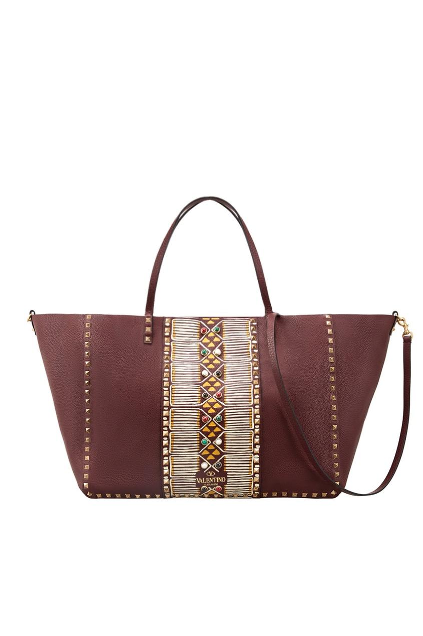Кожаная сумка с кабошонами и шипами