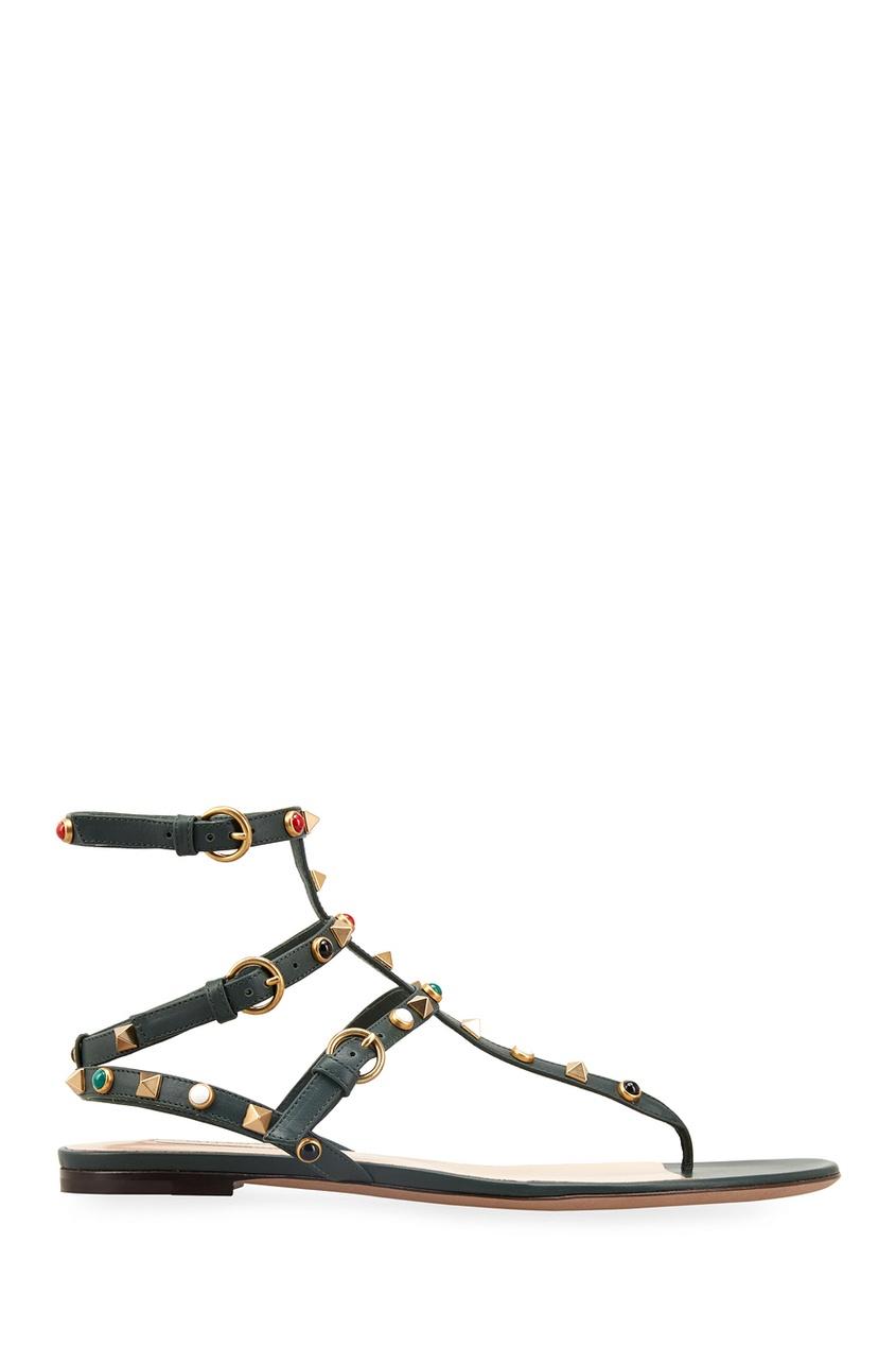 Valentino Кожаные сандалии Rockstud Rolling сандалии caprice сандалии