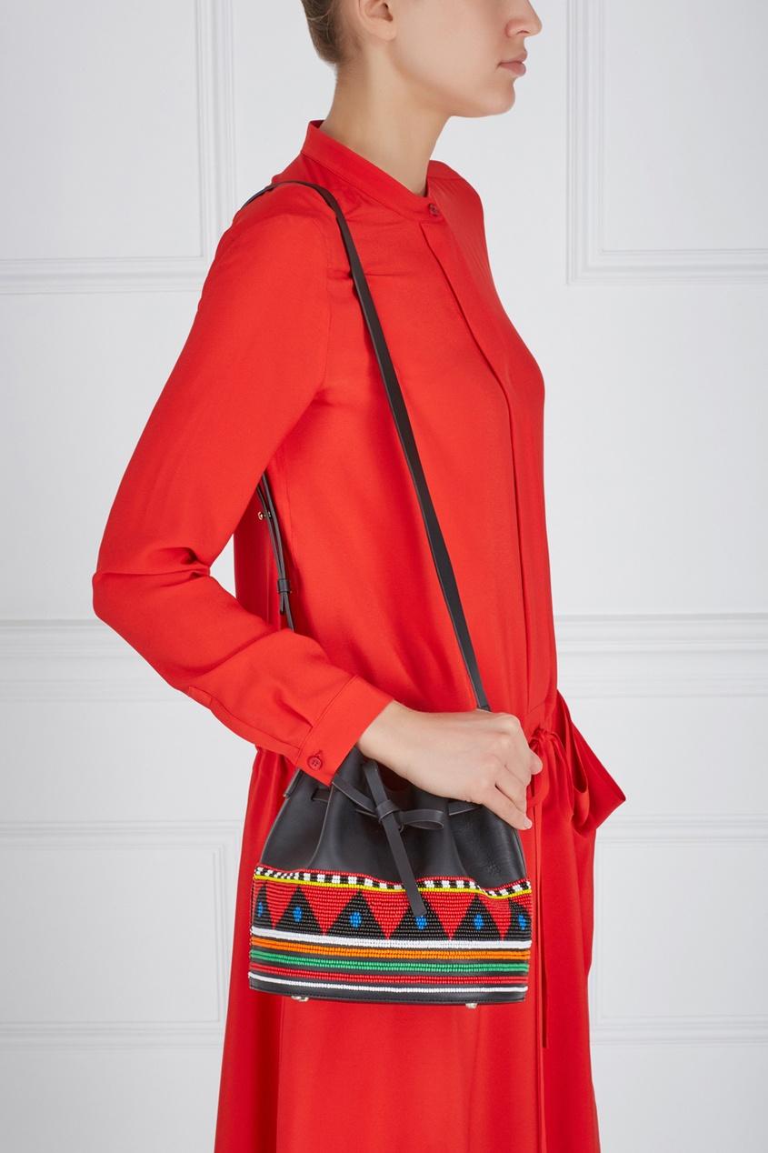 Кожаная сумка с вышивкой Daliah Bucket Africa