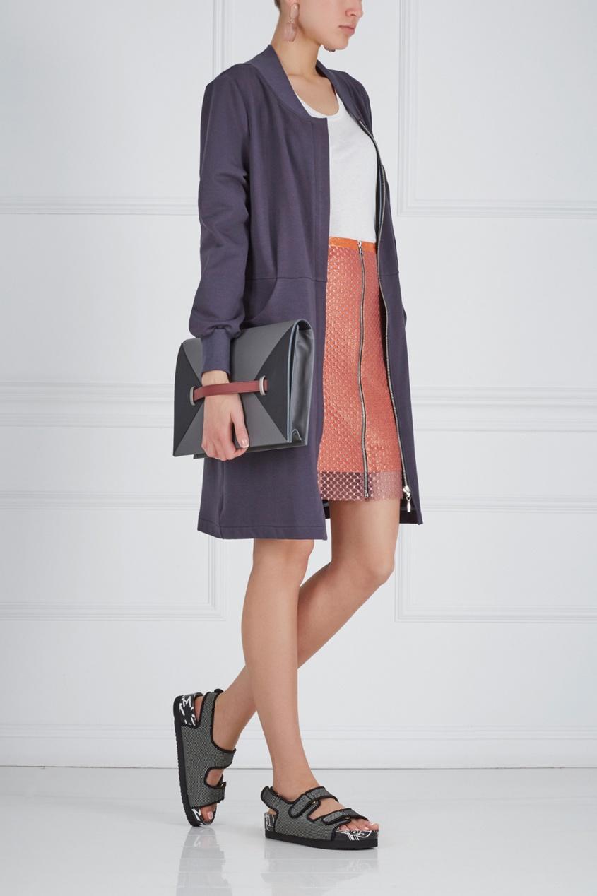 Фото 3 - Хлопковое платье синего цвета