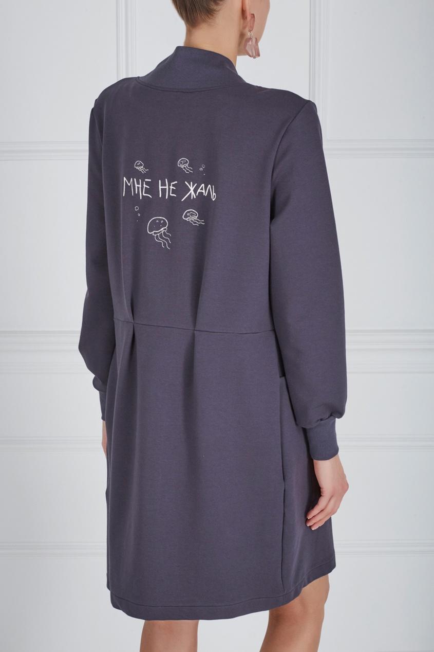 Фото 6 - Хлопковое платье синего цвета