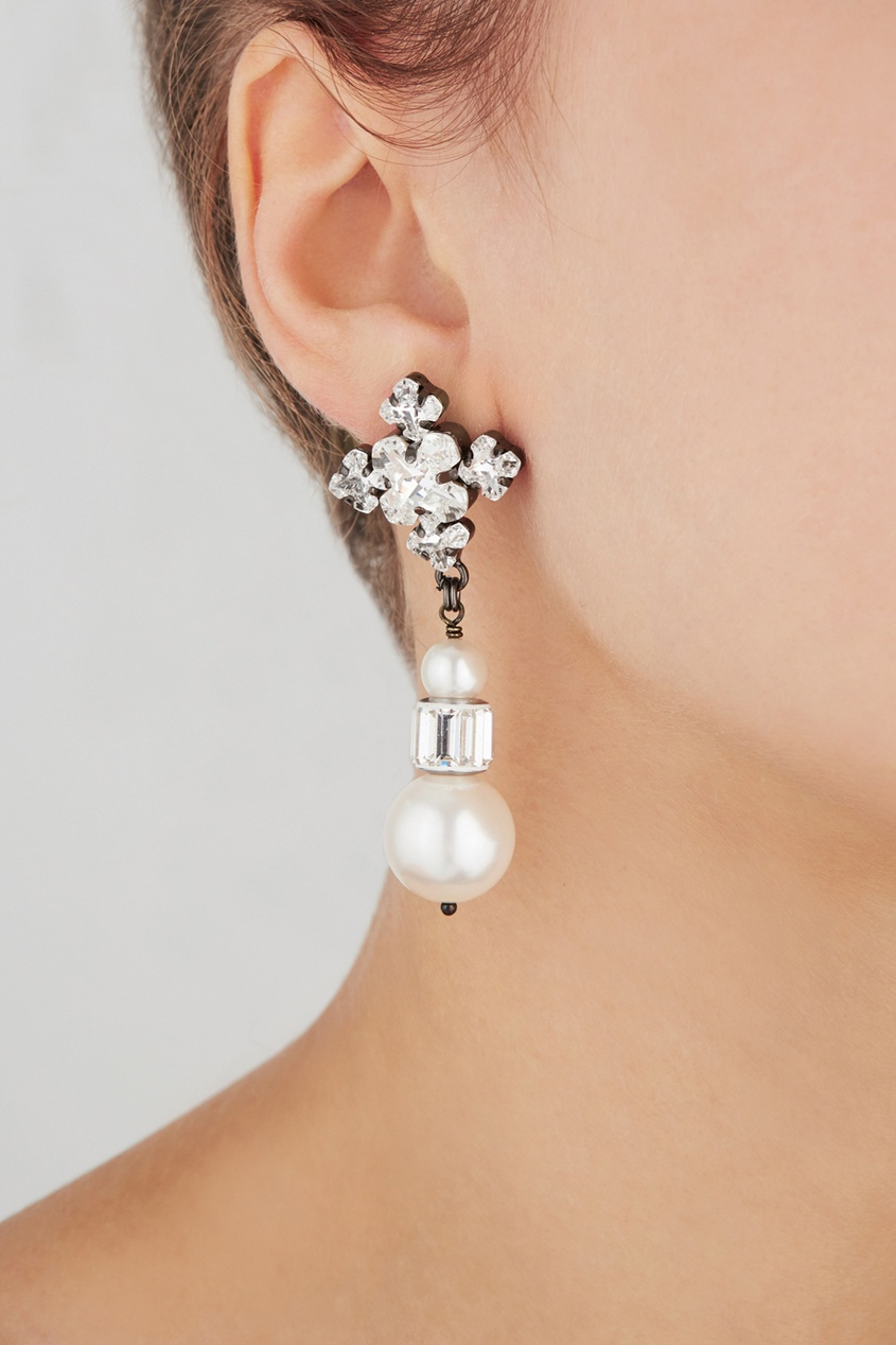Фото 3 - Серьги с кристаллами от Ellen Conde серебрянного цвета