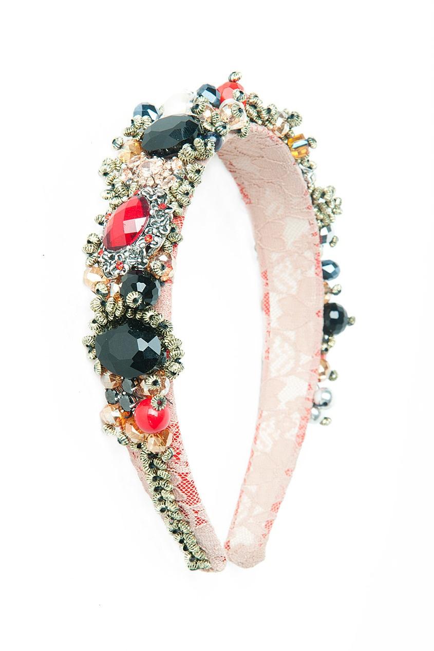 Розово-красный ободок, украшенный камнями Masterpeace