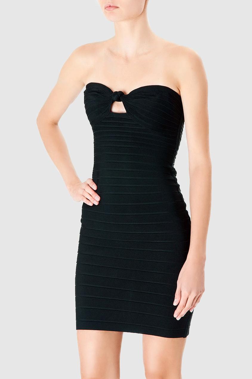 Черное бандажное платье-бюстье от Hervé Léger
