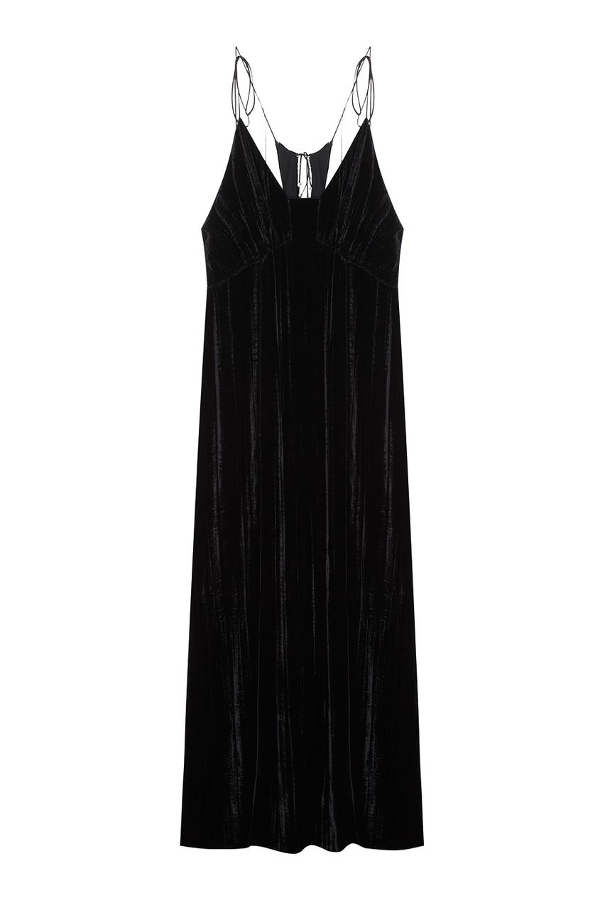 Однотонное бархатное платье