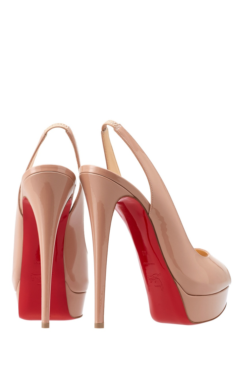 где купить Christian Louboutin Туфли из лакированной кожи Lady Peep Sling 150 по лучшей цене