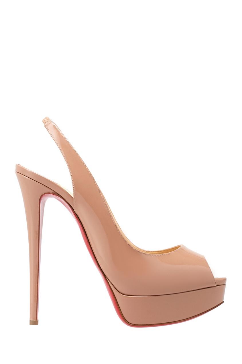 Туфли из лакированной кожи Lady Peep Sling 150