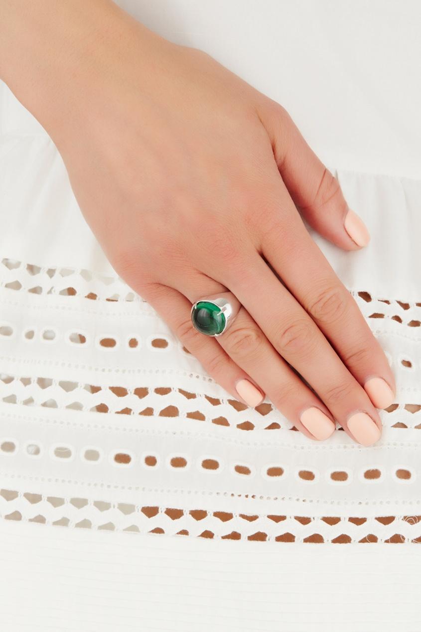 Серебряное кольцо с празиолитом «Леденец»