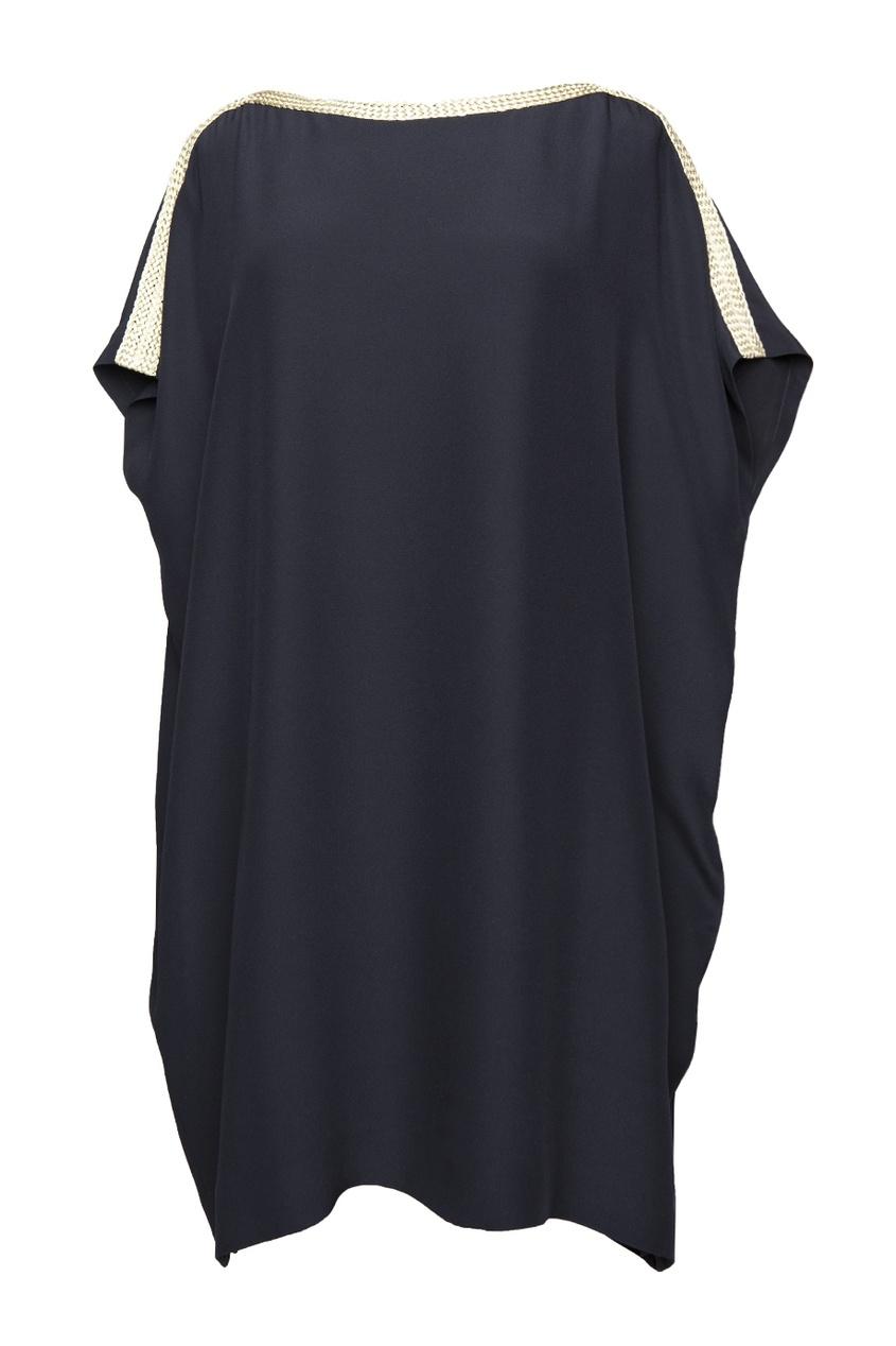 Черное платье с вырезом-лодочкой и медной каймой