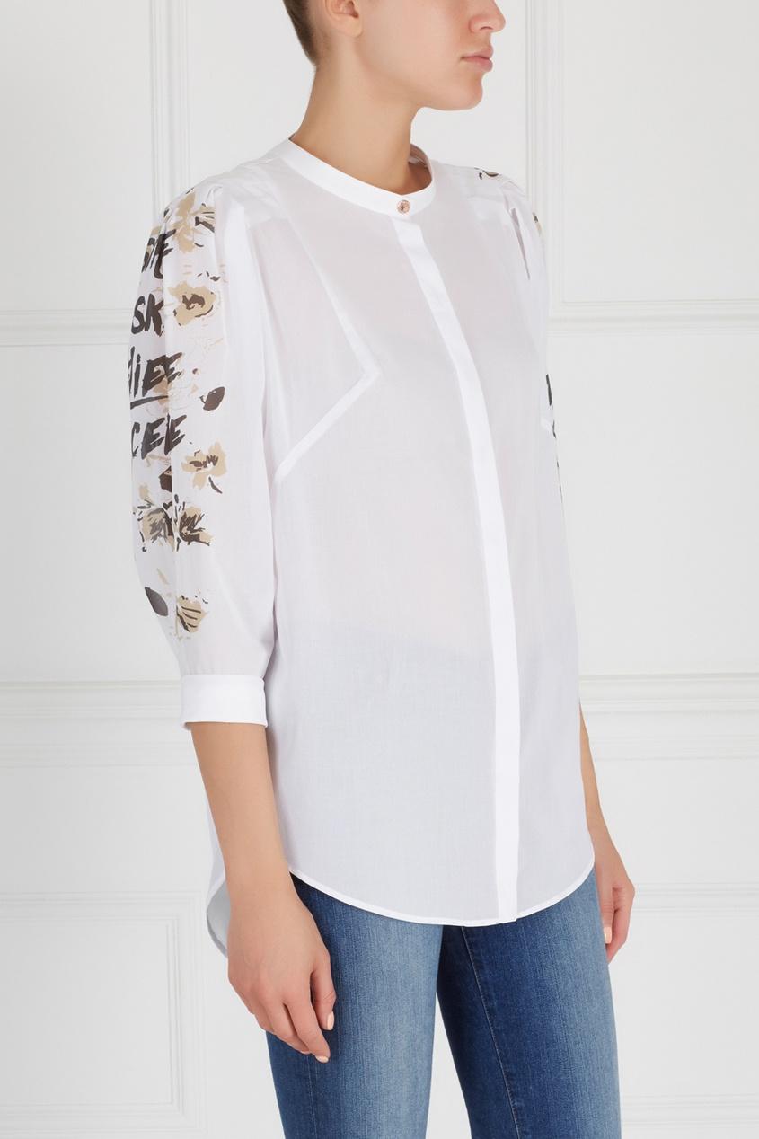 Фото - Хлопковая блузка от Chapurin белого цвета