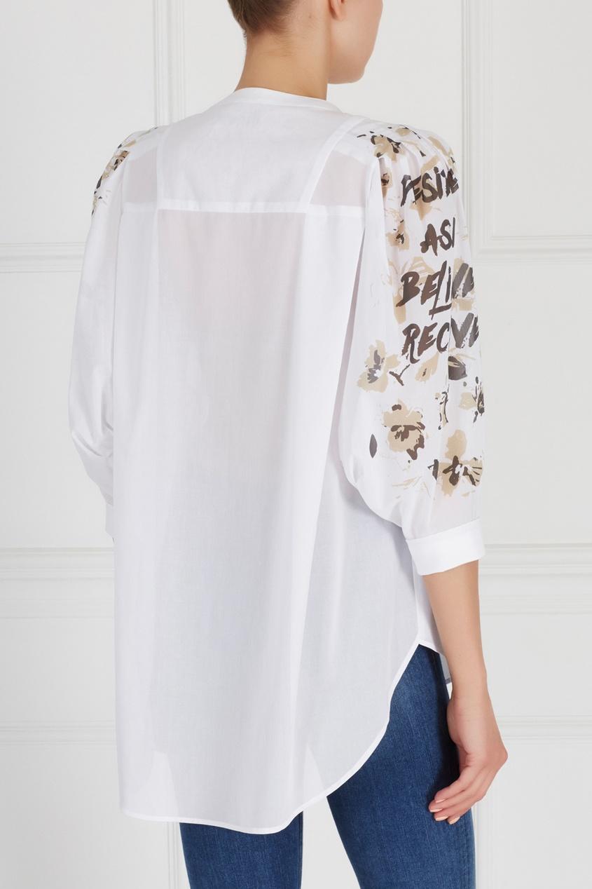 Фото 2 - Хлопковая блузка от Chapurin белого цвета
