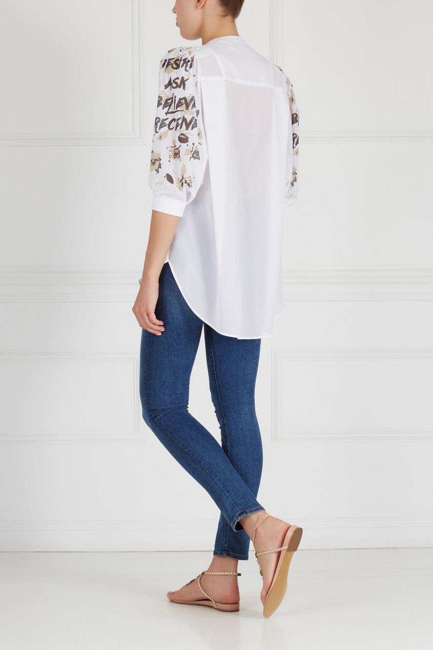 Фото 4 - Хлопковая блузка от Chapurin белого цвета