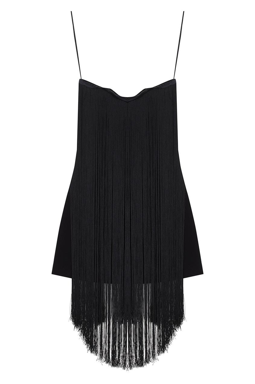 Платье-мини с бахромой