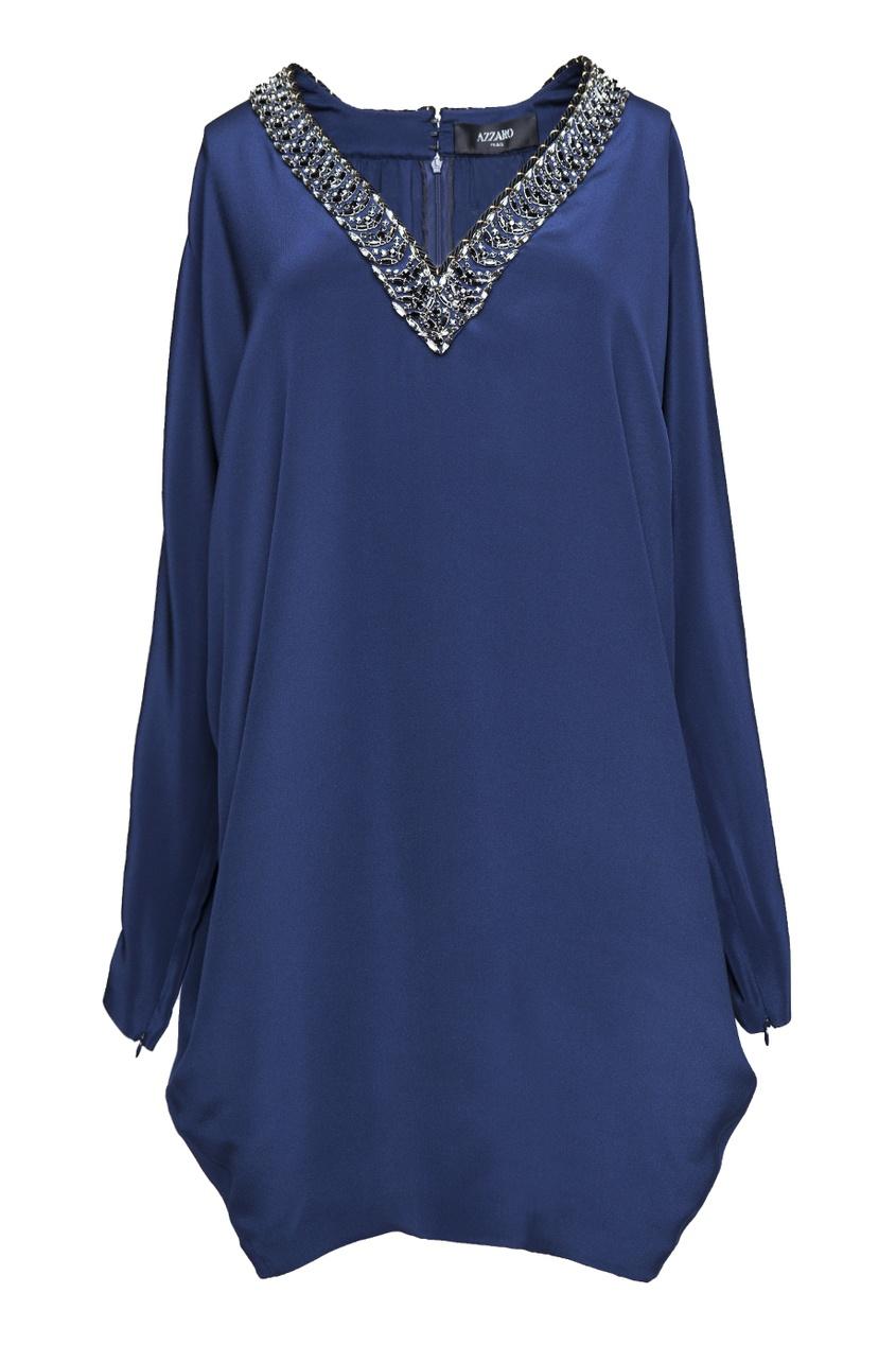Синее платье oversized c V-образным вырезом