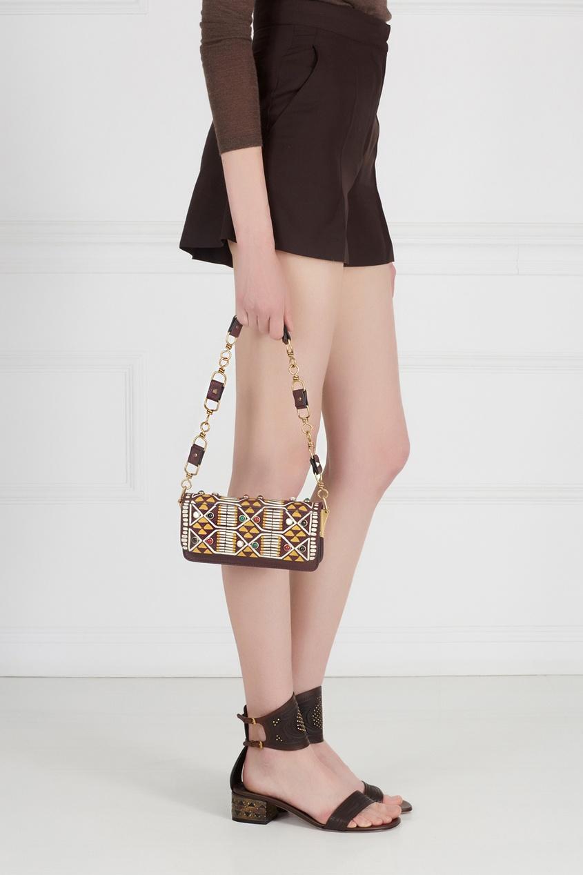 Кожаная сумка с кабошонами