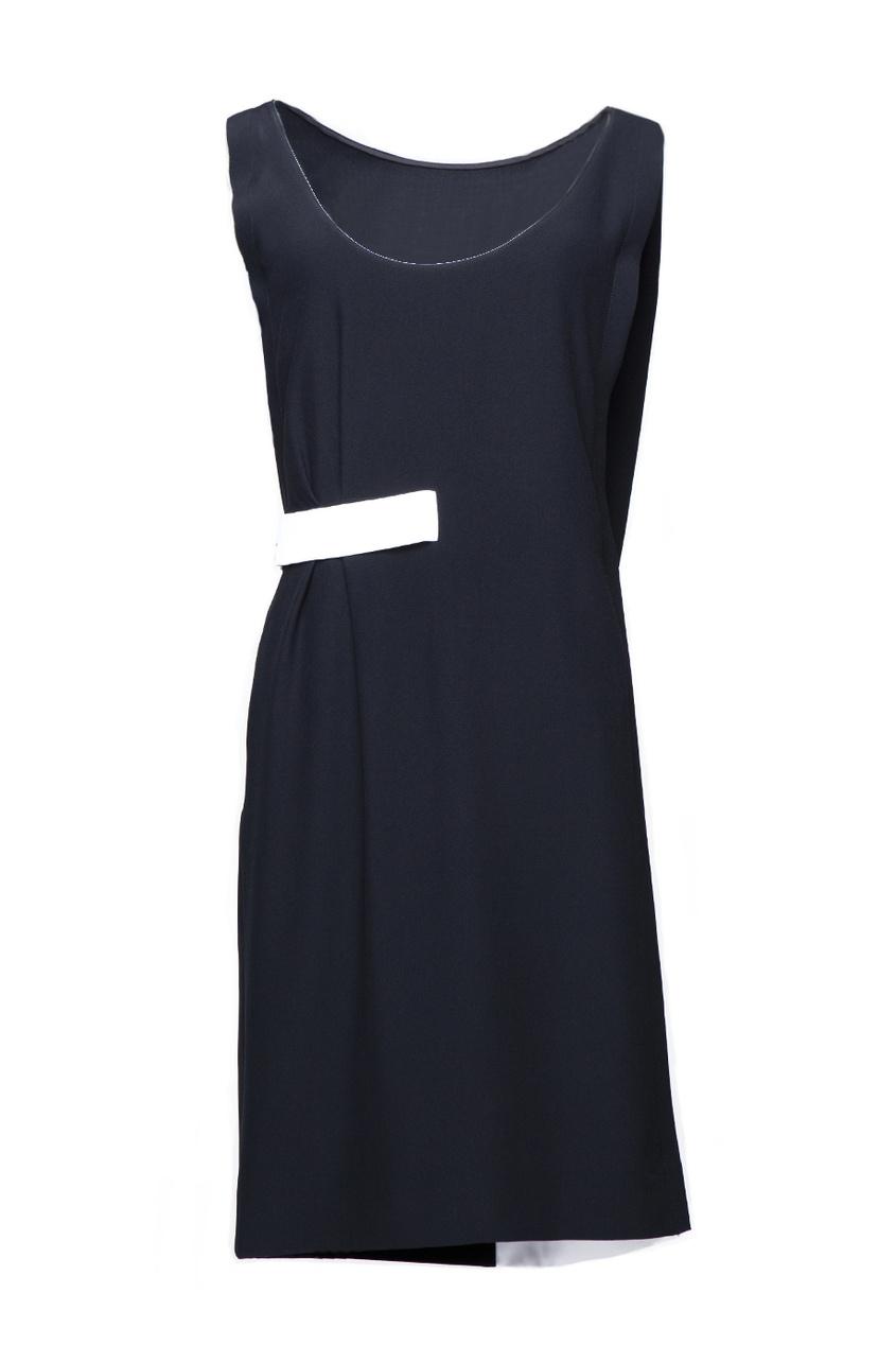 Черное асимметричное платье с белым поясом Azzaro. Цвет: черный