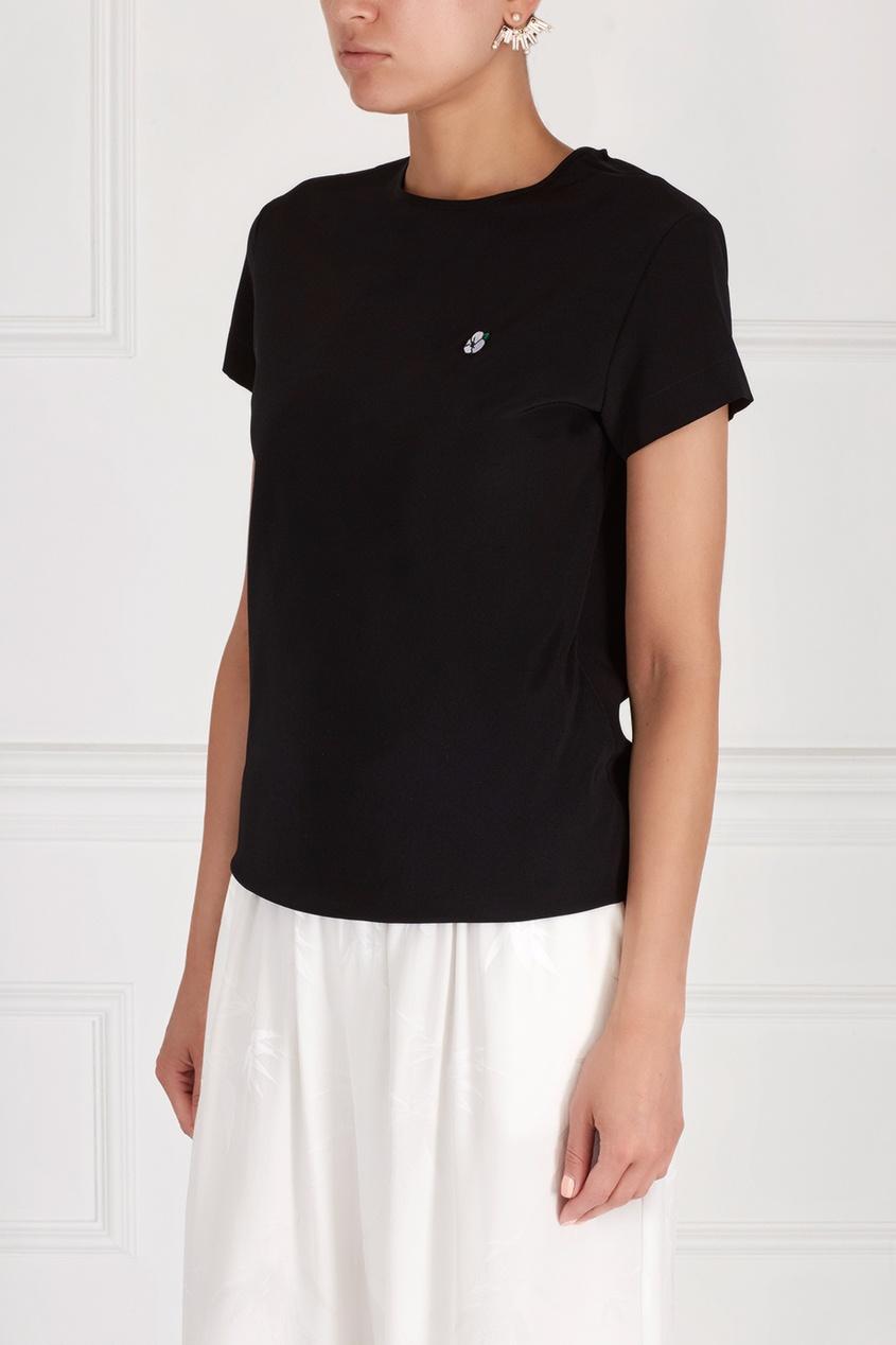 Фото - Шелковая блузка от Alexander Terekhov черного цвета
