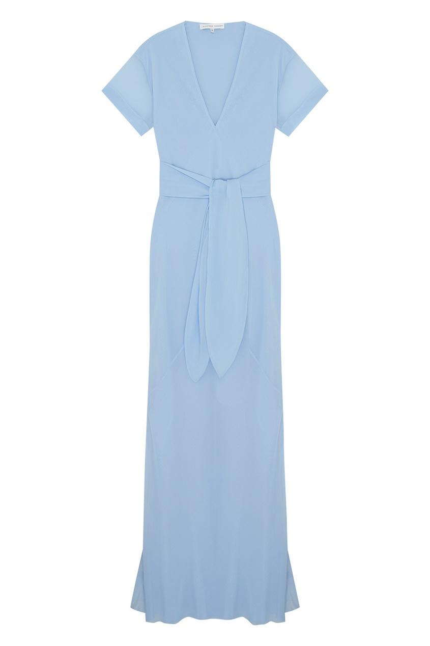 Фото - Шелковое платье от Alexander Terekhov голубого цвета
