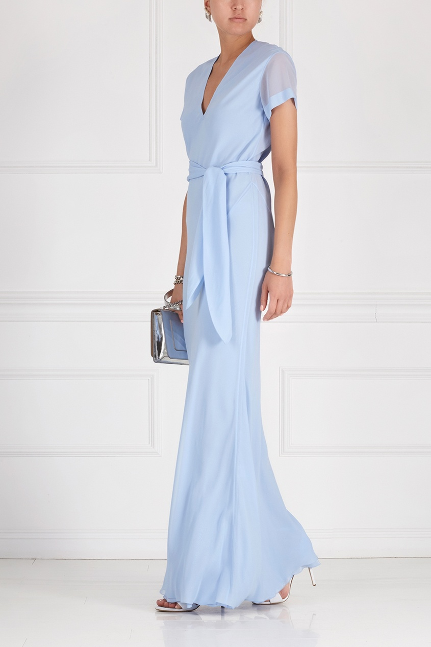 Фото 3 - Шелковое платье от Alexander Terekhov голубого цвета