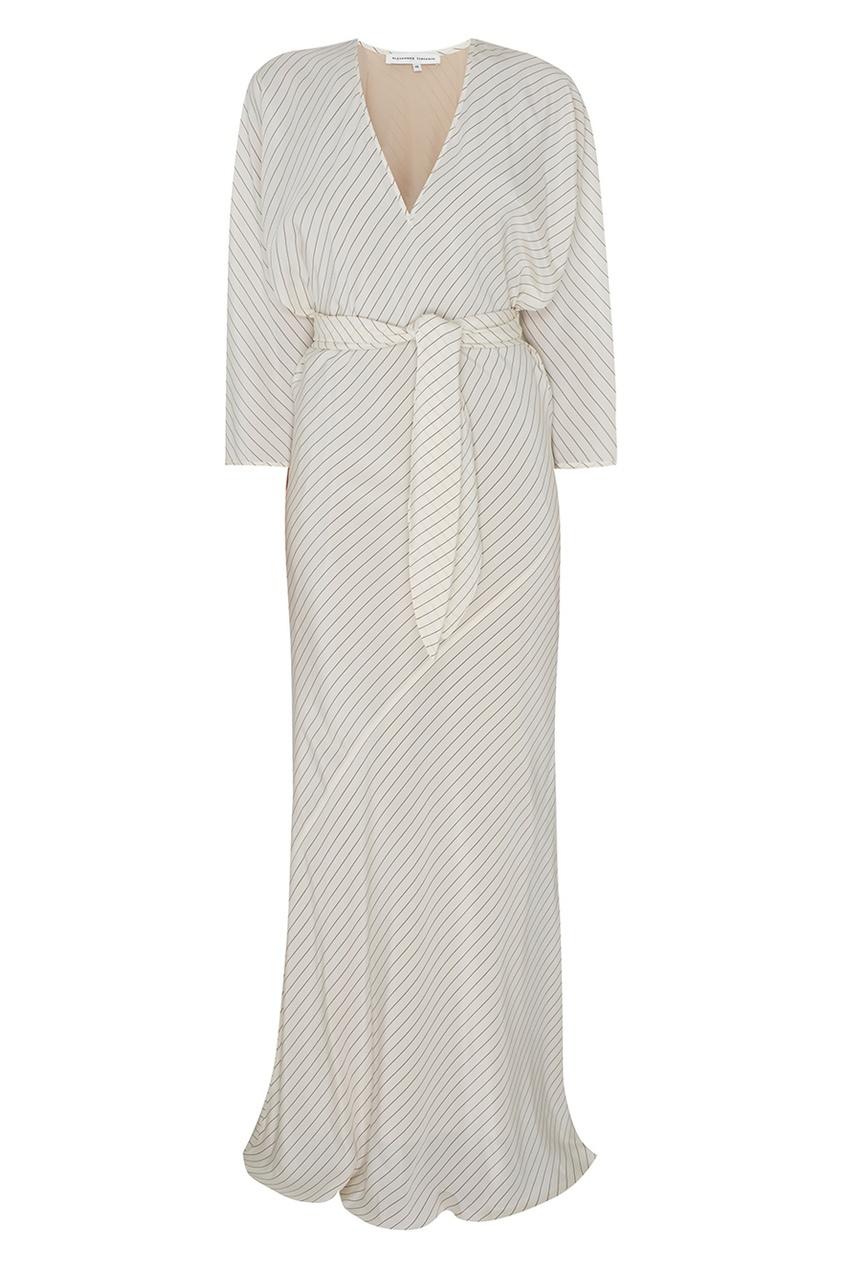 Фото - Шелковое платье от Alexander Terekhov белого цвета