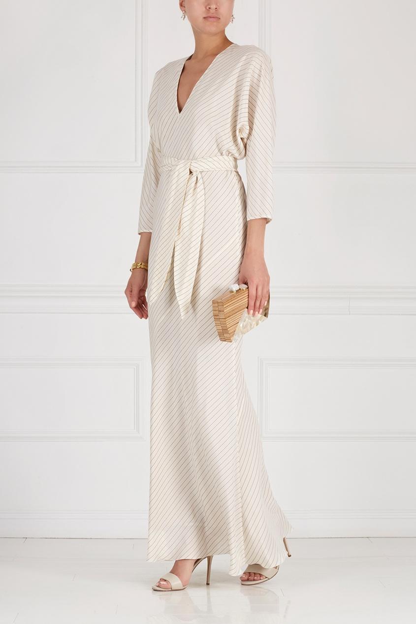 Фото 3 - Шелковое платье от Alexander Terekhov белого цвета