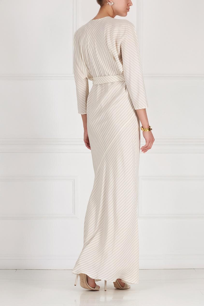 Фото 4 - Шелковое платье от Alexander Terekhov белого цвета