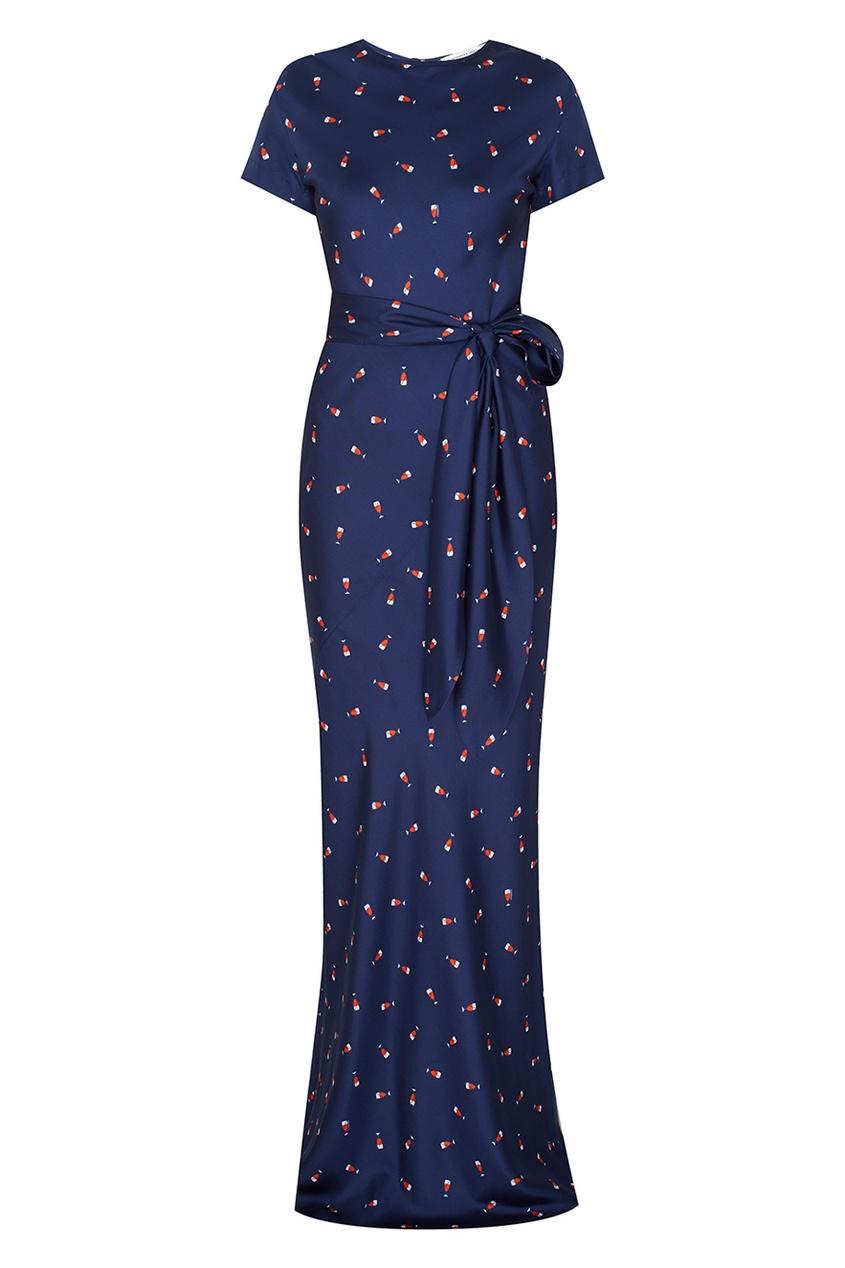 Фото - Шелковое платье от Alexander Terekhov синего цвета