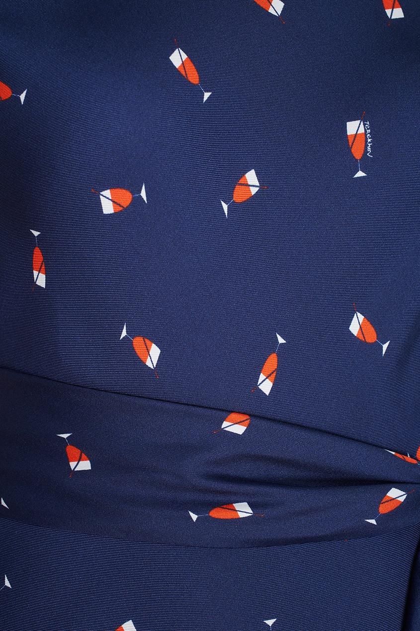 Фото 2 - Шелковое платье от Alexander Terekhov синего цвета