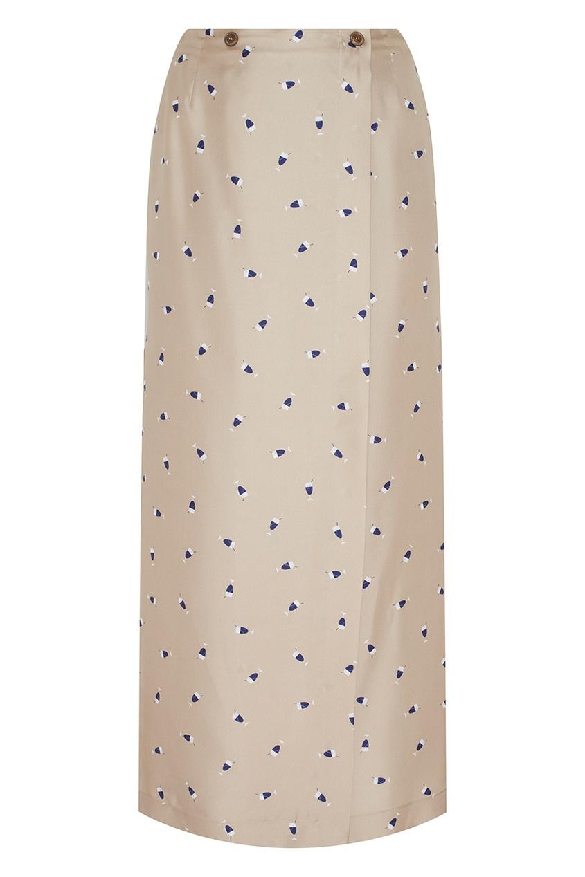 Фото - Шелковая юбка от Alexander Terekhov бежевого цвета