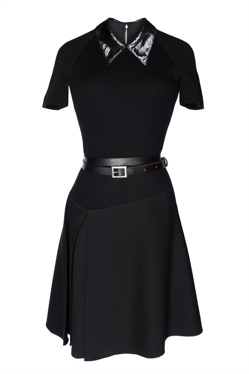 Платье с асимметричной юбкой и поясом Victoria Beckham