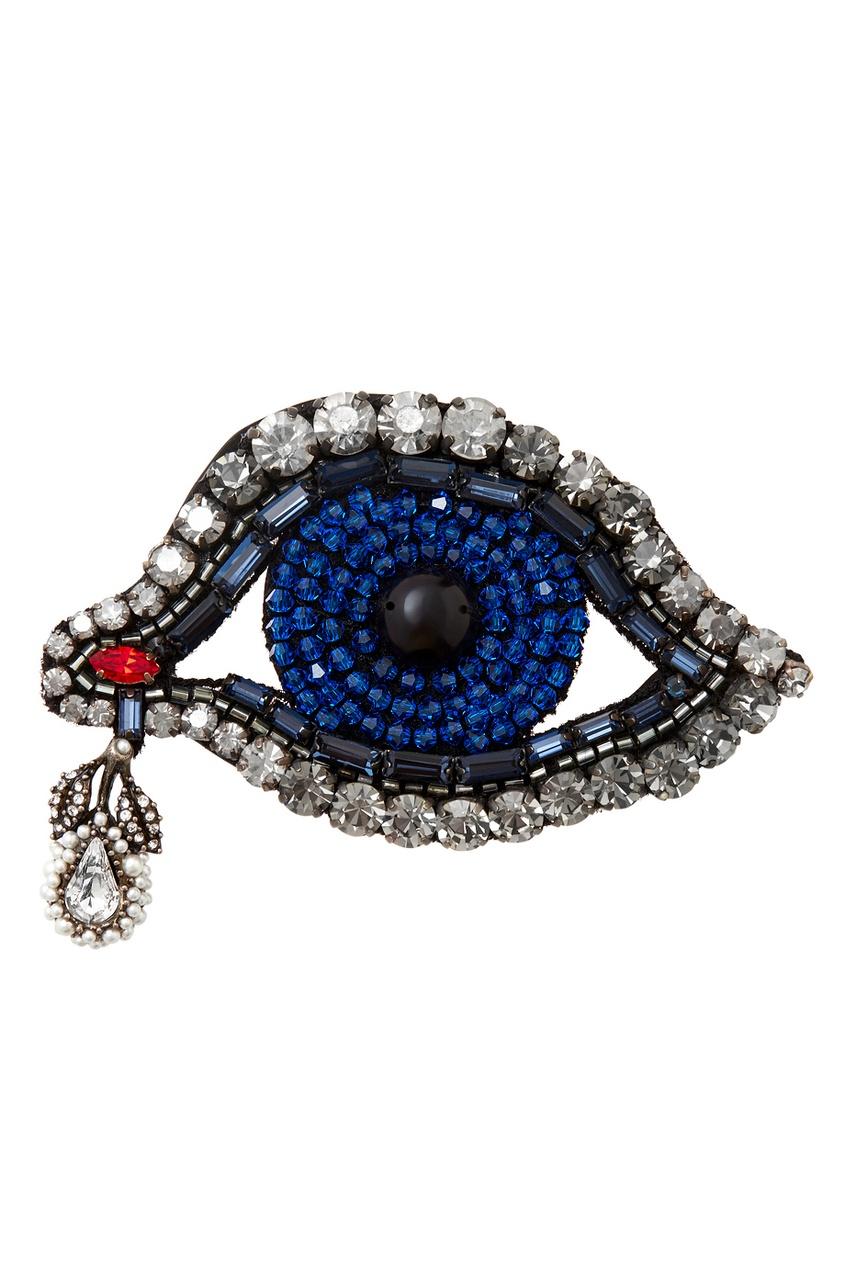 Фото - Брошь с кристаллами от Gucci синего цвета