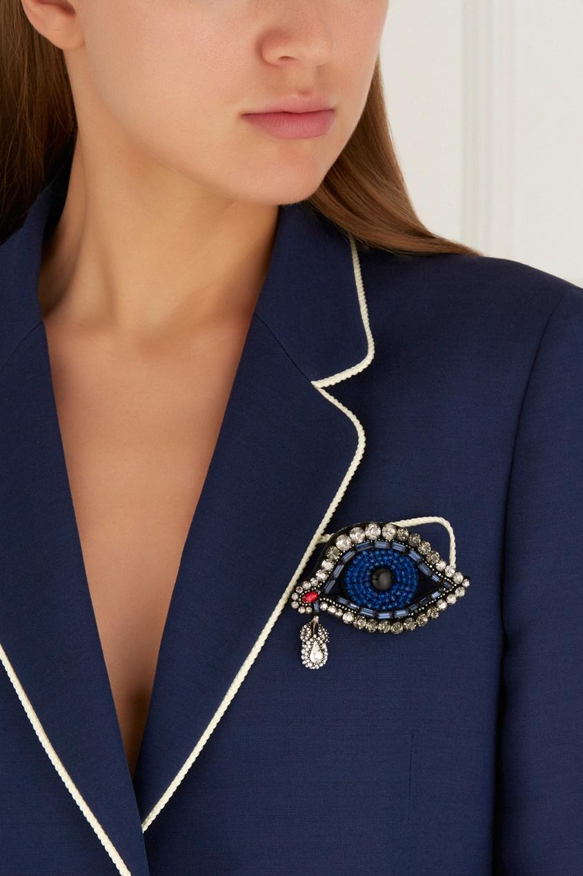 Фото 2 - Брошь с кристаллами от Gucci синего цвета